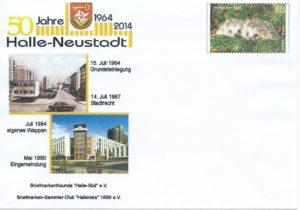 Schmuckumschlag 50 Jahre Halle-Neustadt, postfrisch, 2014; 2,- €