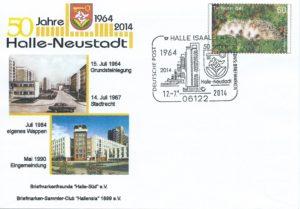 50 Jahre Halle-Neustadt 2014 (Briefumschlag mit Sonderstempel)